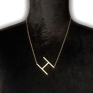 Gold Initial Pendant Necklace Letter H